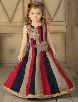 Navy red silk classy gown