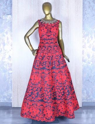 Navy red silk gown