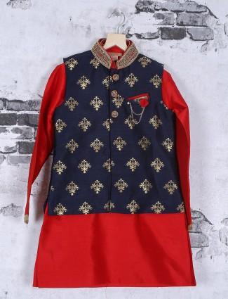 Navy red silk wedding wear waistcoat set