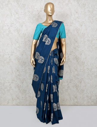 Navy saree in dola silk for festive occasion