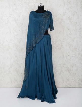 Green satin party wear designer lehenga choli