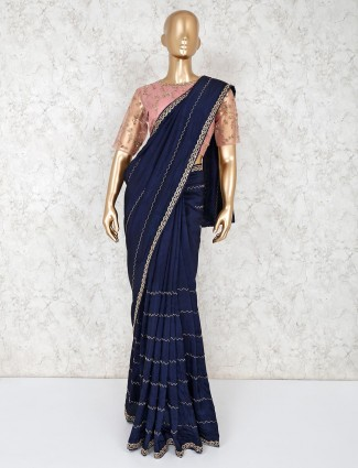Navy satin pretty saree with readymade blouse