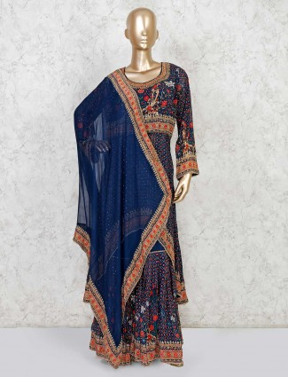 Navy sharara set for festive in georgette