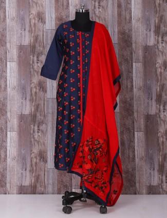 Navy silk classic punjabi suit