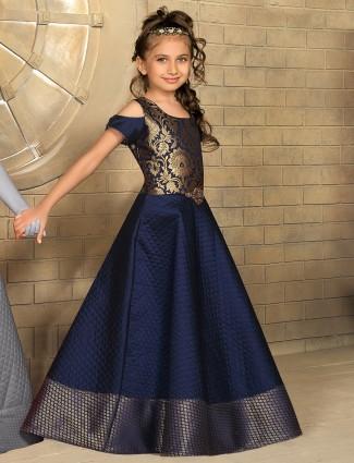 Navy silk classy dressy gown