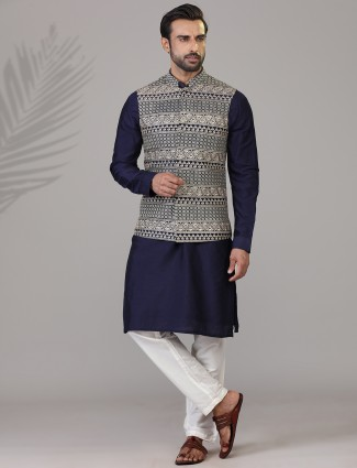 Navy silk embroidered mens waistcoat set
