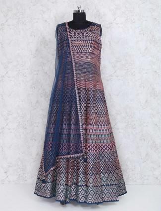 Navy silk floor length anarkali suit