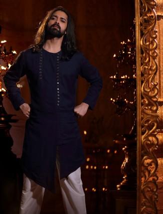 Navy silk kurta suit for festive function