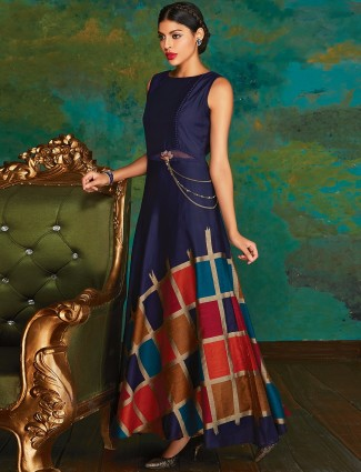Navy silk party anarkali suit