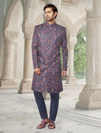 Navy silk printed wedding mens sherwani