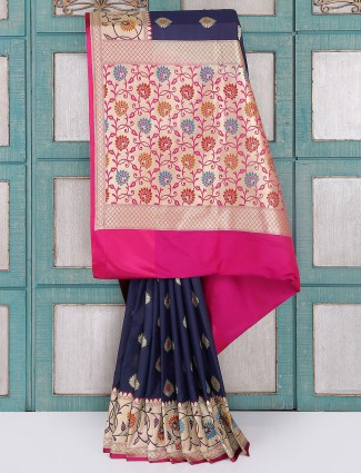 Navy silk saree for wedding wear