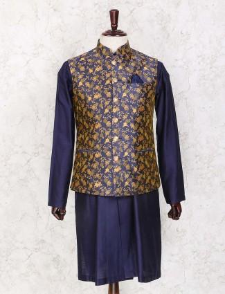 Navy silk waistcoat set for party