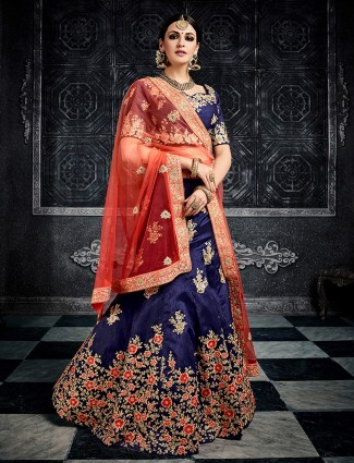 Navy silk wedding wear designer lehenga choli