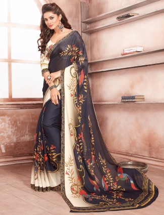 Navy simply georgette saree