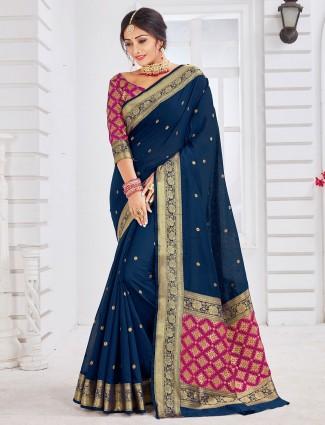 Navy soft cotton saree for wedding