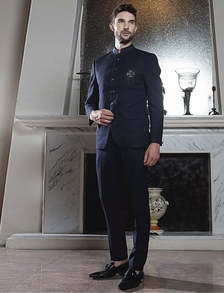 Navy solid full buttoned placket party jodhpuri suit