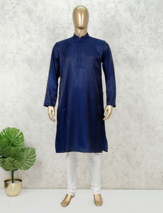 Navy solid mens festive kurta suit