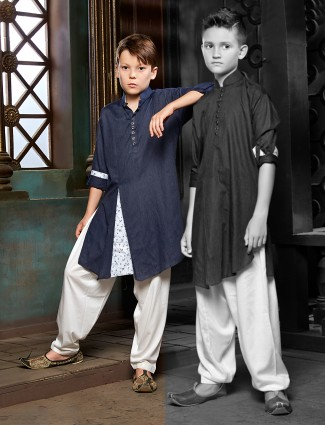 Navy solid pathani suit