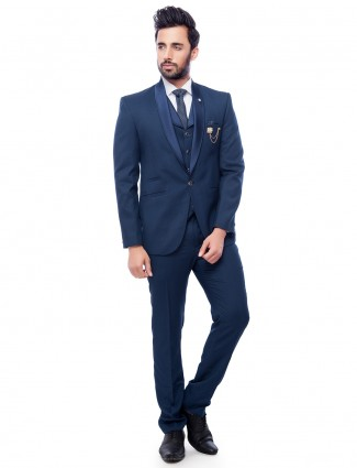 Navy solid terry rayon coat suit for parties