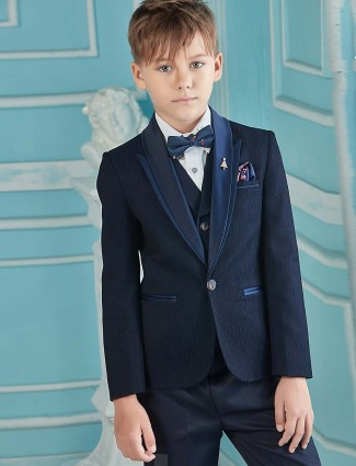 Navy solid terry rayon shawl collar tuxedo suit