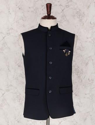 Navy solid waistcoat