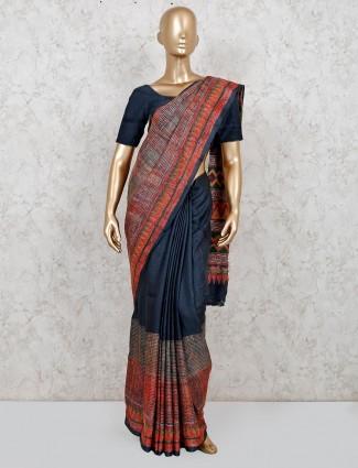 Navy stripe design handloom cotton saree