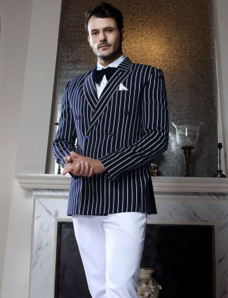 Navy stripe terry rayon tuxedo suit for mens