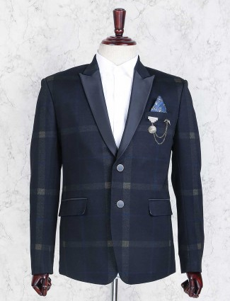 Navy terry rayon checks blazer