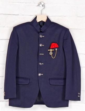 Navy terry rayon jodhpuri boys coat suit