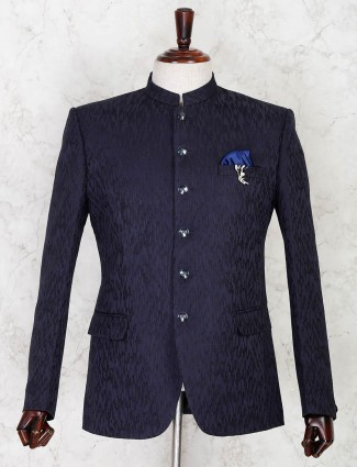 Navy terry rayon jodhpuri party wear blazer