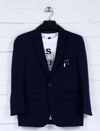 Navy terry rayon notch lapel collar blazer