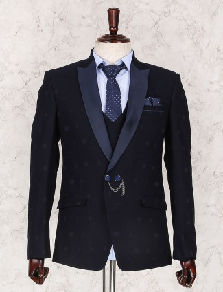 Navy terry rayon simple coat suit