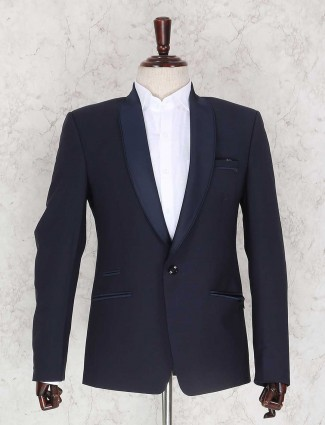 Navy terry rayon solid coat suit