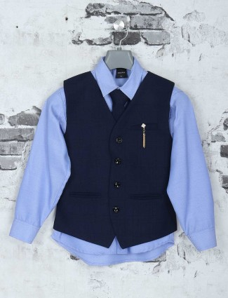Navy terry rayon waistcoat for party