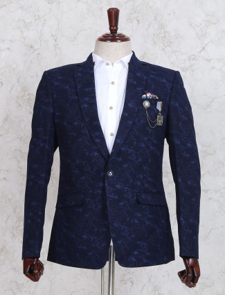 Navy texture blazer for party
