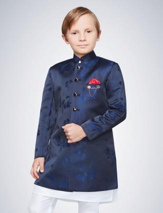 Navy textured pattern boys indo western