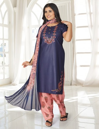 Navy thread work punjabi salwar suit
