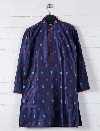 Navy thread woven cotton kurta suit