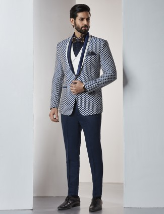 Navy three piece coat suit