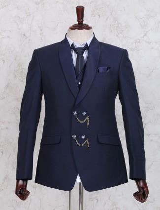 Navy three piece terry rayon coat suit