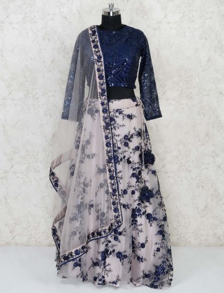 Navy tissue silk lehenga choli in party function