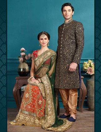 Navy velvet designer wedding wear sherwani