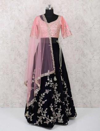 Navy velvet wedding wear designer lehenga choli