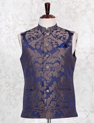Navy waistcoat in cotton with texture touch