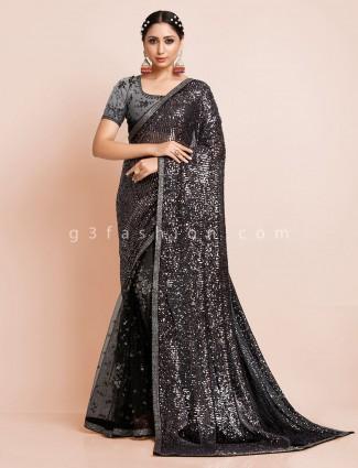 Net black evening party wear saree