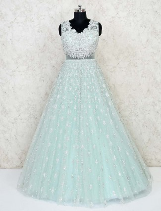 Net bridal wear floor length wedding wear gown