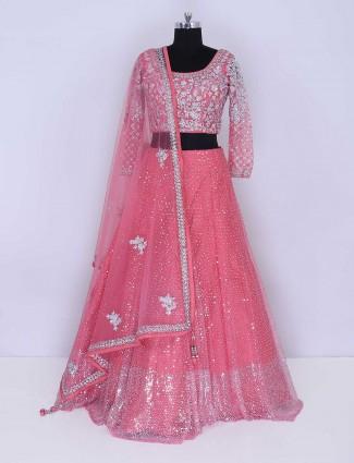 Net bright pink designer lehenga choli