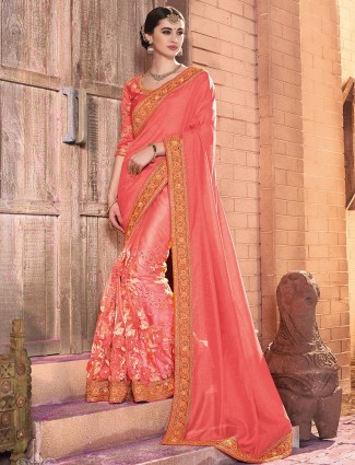 Net chiffon peach party wear saree