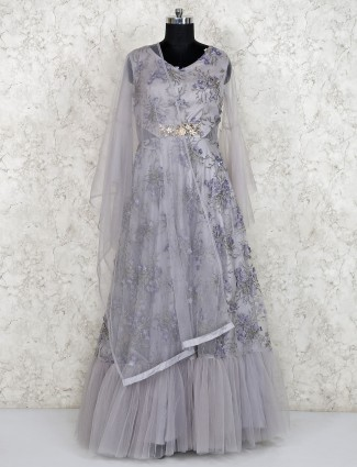 Net fabric grey hue lovely gown