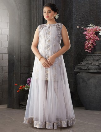 Net fabric grey hue pretty girls salwar suit